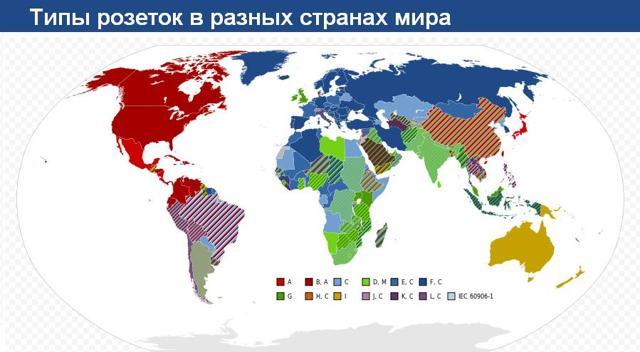 Какие розетки и напряжения используются в разных странах мира