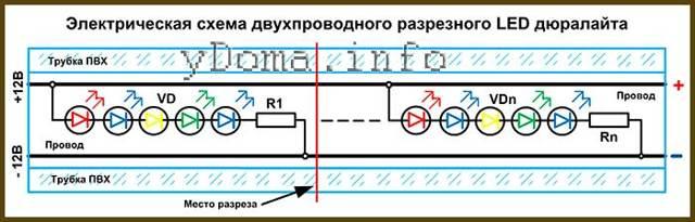 Светодиодный дюралайт - виды, подключение, монтаж