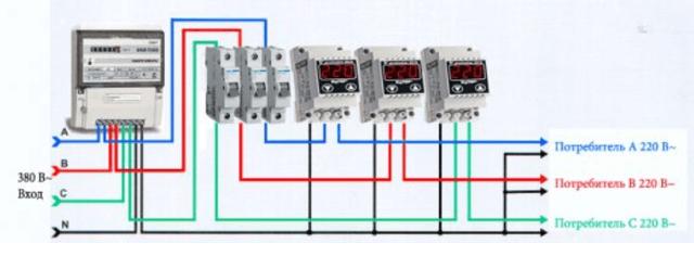 Схемы подключения реле напряжения в однофазной и трехфазной сети