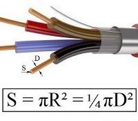 Как определить поперечное сечение провода